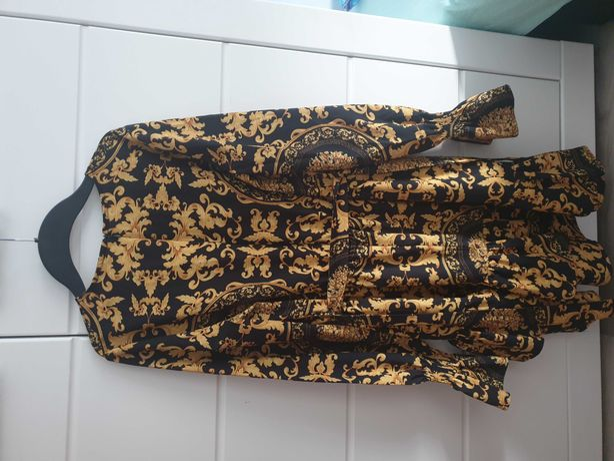Sukienka ala Versace przewiewna miekka r.S złoto czarna