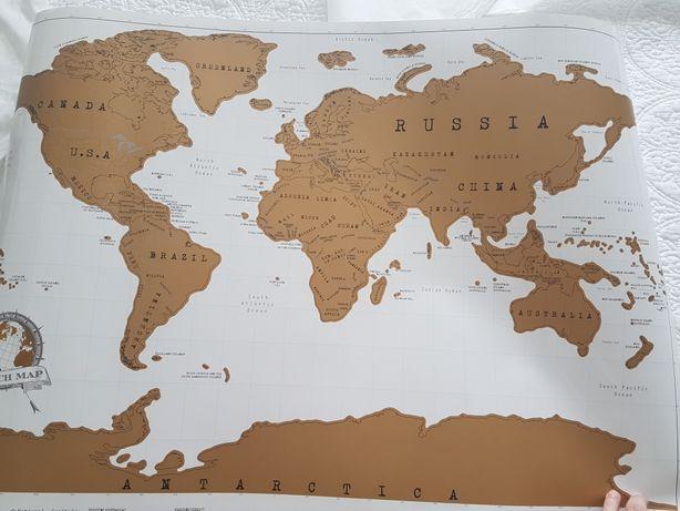 Obraz mapa świata zdrapka biała