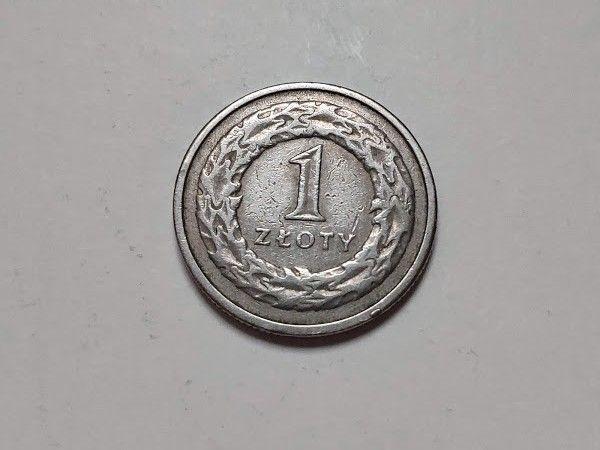 Монета 1 злотый 1992г