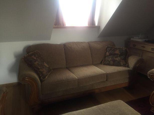 Zestaw: sofa, fotel 2x, pufa