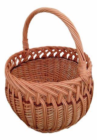 Koszyk wiklinowy na zakupy, grzyby, (ażur okrągły)
