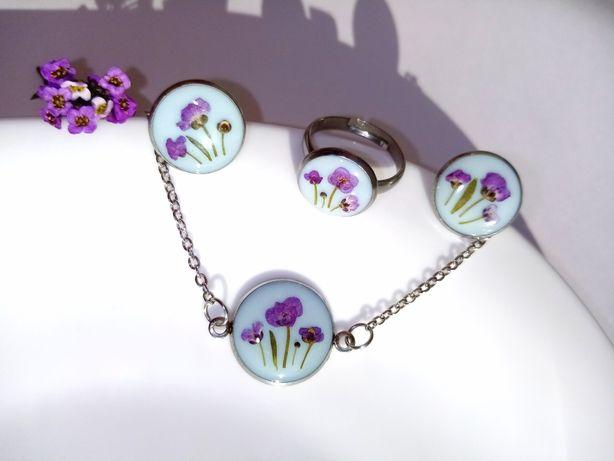 Набор украшений с цветами, браслет, сережки, серьги, кольцо, гвоздики