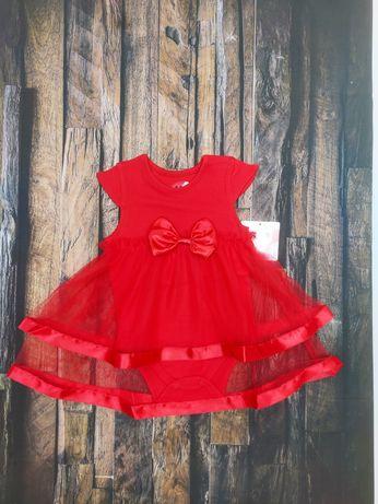 Sukienka body czerwona tiul