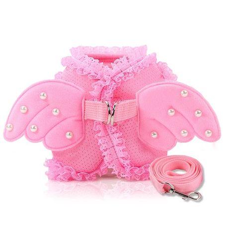 Różowe szelki dla małego psa cyrkonie skrzydła s m plus smycz