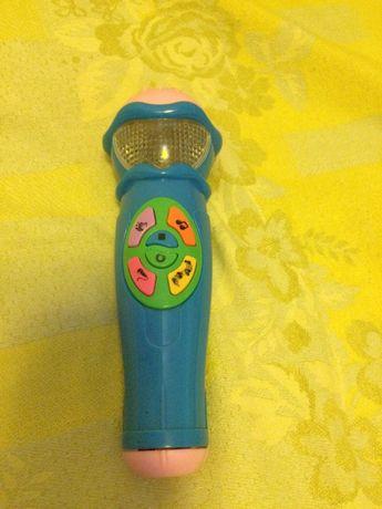 Детский игрушечный музыкальный микрофон с песнями и алфавитом