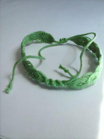 Bransoletka wzór pandora macrame zielona do charms