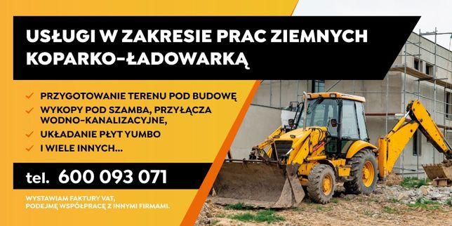 Prace, Roboty ziemne, Usługi, Koparko-ładowarka, Koparka, Biała Rawska