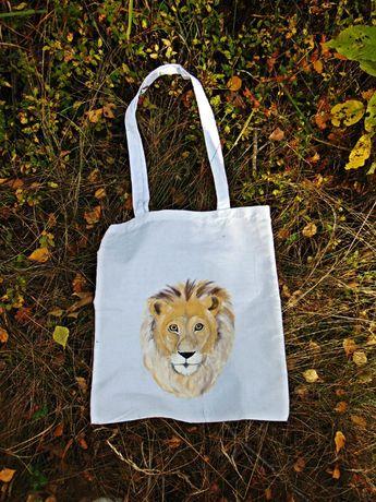 Torba ręcznie malowana lew