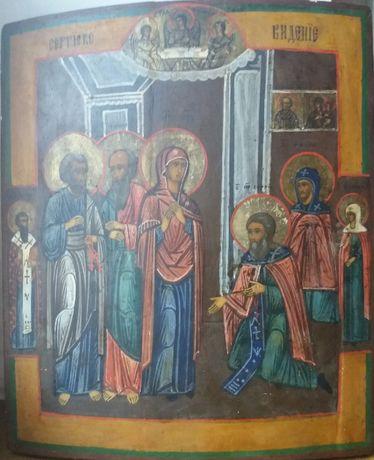 Икона Явление Богородицы Сергию Радонежскому 19 век. Россия