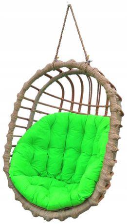 Huśtawka wiklinowa, fotel wiszący OWALNY  + poduszka zielona