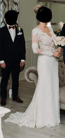 Suknia ślubna koronka angielska
