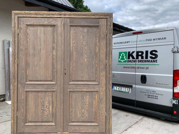 Drzwi lite drewniane dwuskrzydłowe szczotkowane postarzane OD RĘKI
