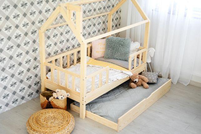 Łóżko domek skandynawski, dziecięce, Barierki+Szuflada, KIRI