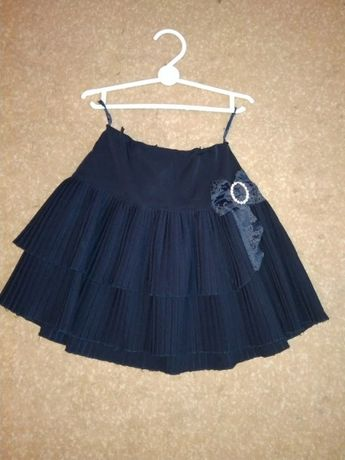 Школьная юбка, р. 122-128. синяя + блузка в подарок