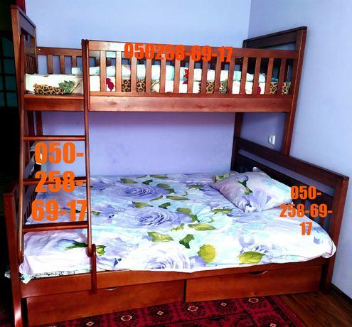 """Трех спальная кровать (190*140).Двухъярусная кровать """"Адель 2в1""""с ольх"""