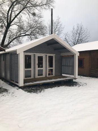 Domek drewniany letniskowy, ogrodowy-5,0x5,2+2,0m zadaszonego tarasu