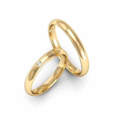 Delikatna Para Złotych Obrączek Ślubnych Błyszcząca Cyrkonia