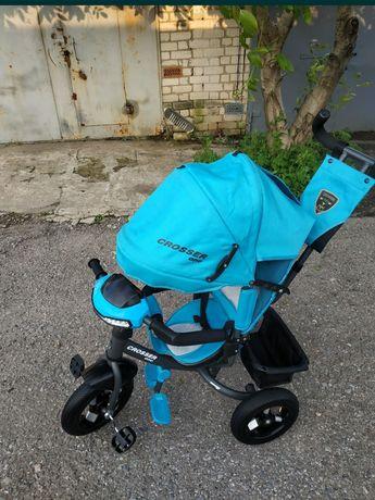 Велосипед детский трёхколёсный Azimut Crosser One T1 Air Лазурный