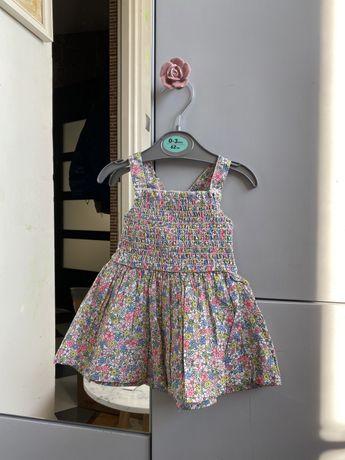 Sukienka w kiaty kwiatki ściągacz ramiączka 0-3 miesiąca 62cm