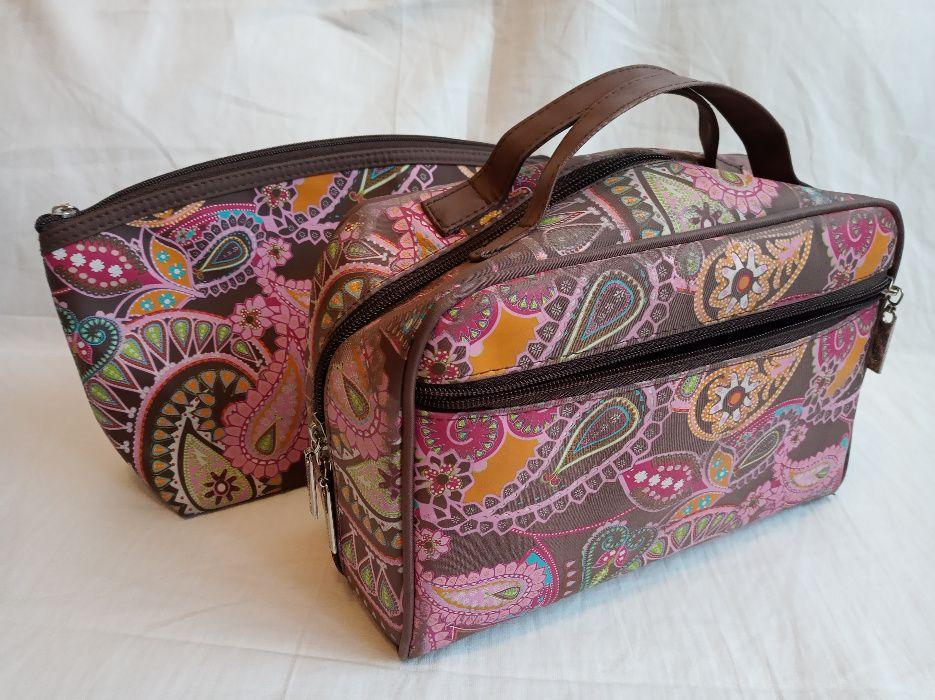 Zestaw kosmetyczek podróżnych, duża różowa damska kosmetyczka na zamek Gliwice - image 1