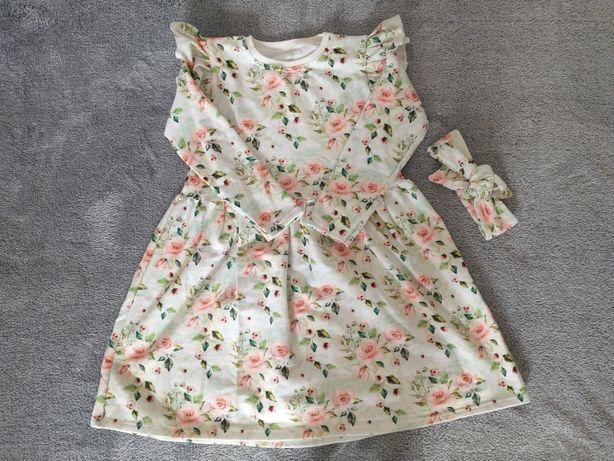 Sukienka z dresówki Petitpepe r.122 + opaska