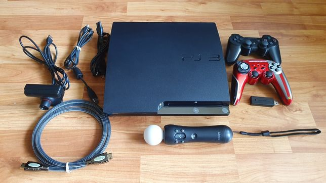 Playstation 3 Slim 320GB PS3 + move + kamera + 9 gier + pad