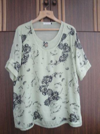 Туника блузка нежно салатового цвета с принтом.