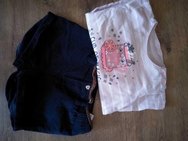 Świetne krótkie spodenki H&M plus bluzka coolclub i body 74/80