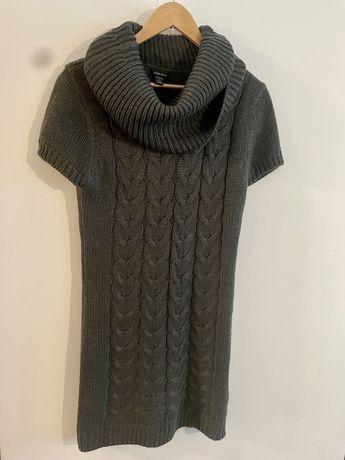Sweterek tunika / krótka sukienka AMISU ciemnoszary. Rozmiar 42 XL (ró