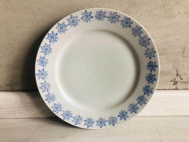 Talerz D.P.R.K PRL duży niebieski porcelana