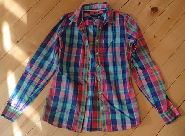 koszula krata kolorowa błękit róż elegancka Tommy Hilfiger xxs xs