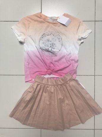 Nowy zestaw bluzka H&M + plisowanka Zara, 116 cm