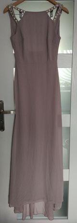 Długa liliowa sukienka bez pleców