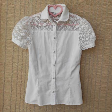 Белая блузка школьная девочке Зиронька размер 146, на 3-4 класс