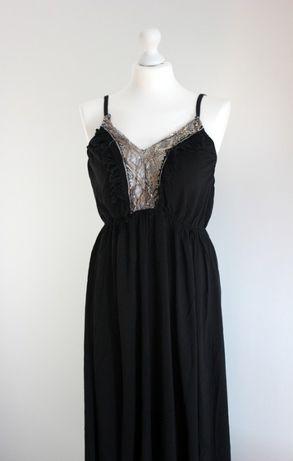Sukienka wiskoza boho letnia zwiewna lato wiskozowa cekiny ozdobny dek