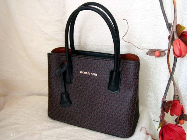 Michael Kors czarna torba do ręki damska miejska z brązowym wzorem