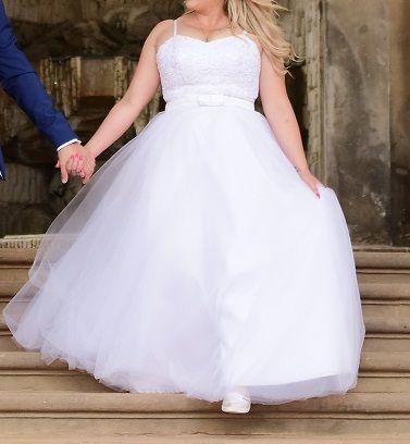 Suknia ślubna na gorsecie śnieżno biała