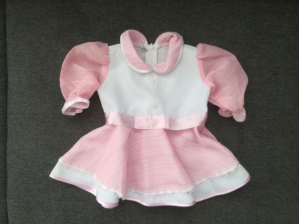 Ubranko na chrzest sukienka dla dziewczynki r. 68 cm. Stan idealny.