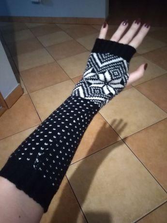 Rękawiczki damskie bez palców azteckie wzory