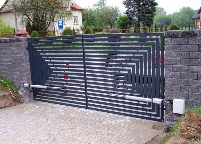 Brama dwuskrzydłowa, palisadowa, przesuwna, panelowa, kompleksowo
