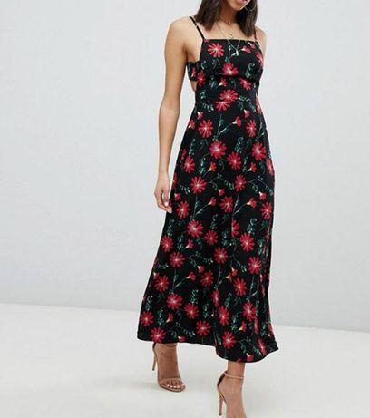 Восхитительное длинное платье в цветы с красивой спиной