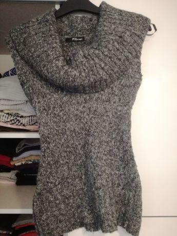 Szary sweter golf kamizelka