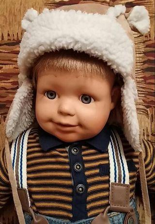 Теплая шапка с ушками на мальчика шапочка детская 6-9 мес