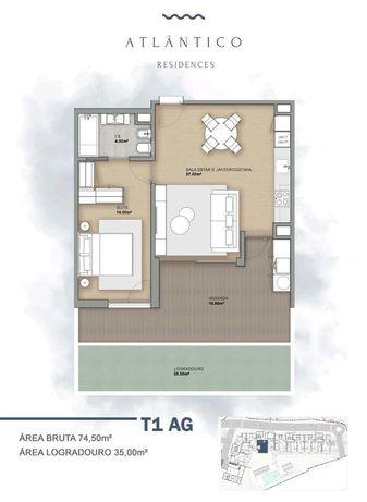 Atlântico Residence - T1 - Vista Piscina e Mar