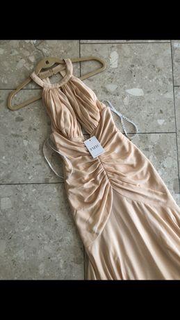 Sukienka Suknia Maxi Jarlo Morelowa Marszczona Syrena Balowa XS