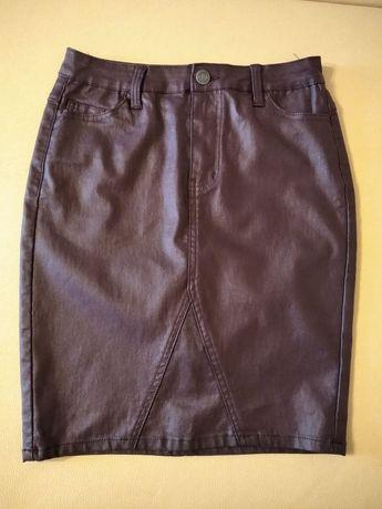 Spódnica lateksowa ołówkowa kolor śliwka