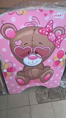 Детская кроватка с рисунком, маятник, откидной бок, ящик для белья