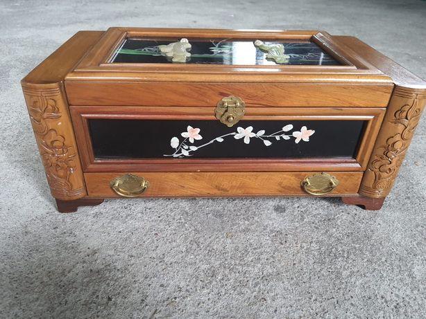 Piękna, stara szkatułka na biżuterkie, chinki, japonki