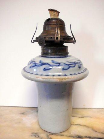 antigo candeeiro de azeite em faiança portuguêsa
