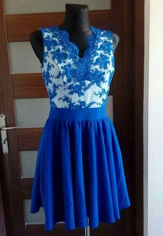 Sukienka rozkloszowana chabrowa niebieska wesele 36 A&M haftowana